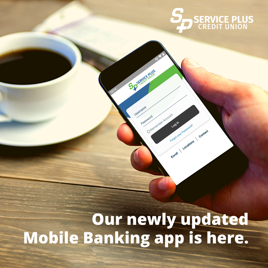 Hand holding mobile phone with Service Plus mobile banking app